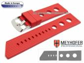 Uhrenarmband Baracoa 24mm rot Kautschuk Racing-Look von MEYHOFER (Schließenanstoß 22 mm)