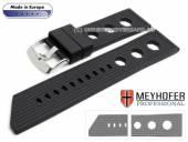 Uhrenarmband Baracoa 24mm schwarz Kautschuk Racing-Look von MEYHOFER (Schließenanstoß 22 mm)