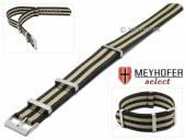 Uhrenarmband Aurich 20mm schwarz Nylon/Textil Durchzugsband im NATO-Look mit beigen Streifen von Meyhofer