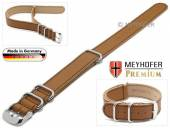 Durchzugsband Piacenza NATO Special 20mm hellbraun Leder genarbt schwarze Naht von Meyhofer