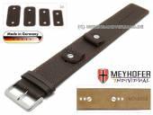 Uhrenarmband Kassel 14-16-18-20mm Wechselanstoß dunkelbraun Leder genarbt orangefarbene Naht Unterlagenband Meyhofer