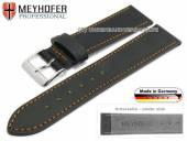 Uhrenarmband Homberg 17mm schwarz Horween Shell Cordovan Leder orange Naht von MEYHOFER (Schließenanstoß 16 mm)