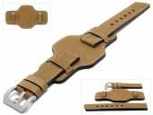Uhrenarmband Granada 24mm mittelbraun Leder Antik-Look asymmetrische Lederunterlage MEYHOFER (Schließenanstoß 24 mm)