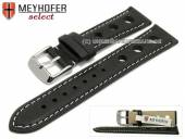 Uhrenarmband Castletown 18mm schwarz Racing-Look glatt helle Naht von MEYHOFER (Schließenanstoß 16 mm)