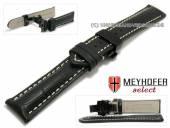 Uhrenarmband Arlon 18mm schwarz Leder Alligator-Prägung Butterflyfaltschließe schwarz MEYHOFER (Schließenanstoß 16 mm)