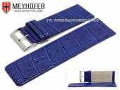Uhrenarmband Campinas 30mm kobaltblau Leder Alligator-Prägung abgenäht von Meyhofer (Schließenanstoß 28 mm)