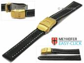 Meyhofer EASY-CLICK Uhrenarmband Yukon 22mm schwarz Leder vegetabil helle Naht Faltschließe (Schließenanstoß 20 mm)
