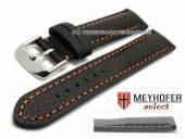 Uhrenarmband Lanark 19mm schwarz Leder genarbt matt orange Naht von MEYHOFER (Schließenanstoß 18 mm)