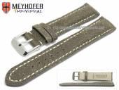 Uhrenarmband Tenay 24mm antikschwarz Leder Antik-Look helle Naht von Meyhofer (Schließenanstoß 20 mm)