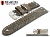 Uhrenarmband Ansbach 22mm antikschwarz Leder Aviator-Look orange Naht von Meyhofer (Schließenanstoß 20 mm)