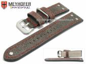 Uhrenarmband Ansbach 24mm antikschwarz Leder Aviator-Look rote Naht von Meyhofer (Schließenanstoß 22 mm)