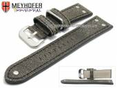Uhrenarmband Ansbach 24mm antikschwarz Leder Aviator-Look Naht schwarz von Meyhofer (Schließenanstoß 22 mm)