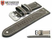 Uhrenarmband Ansbach 24mm antikschwarz Leder Aviator-Look helle Naht von Meyhofer (Schließenanstoß 22 mm)