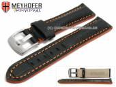 Uhrenarmband Estero 18mm schwarz Leder Alligator-Prägung orange Naht von Meyhofer (Schließenanstoß 16 mm)
