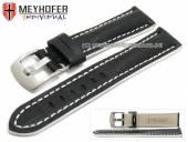 Uhrenarmband Estero 18mm schwarz Leder Alligator-Prägung weiße Naht von Meyhofer (Schließenanstoß 16 mm)