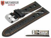 Uhrenarmband Topeka 19mm schwarz Alligator-Prägung Racing-Look orange Naht von MEYHOFER (Schließenanstoß 18 mm)