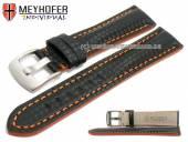 Uhrenarmband Rheinsberg 19mm schwarz Leder sportiv Carbon-Look orange Naht von MEYHOFER (Schließenanstoß 18 mm)