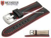 Uhrenarmband Rheinsberg 19mm schwarz Leder sportiv Carbon-Look rote Naht von MEYHOFER (Schließenanstoß 18 mm)