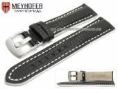 Uhrenarmband Rheinsberg 19mm schwarz Leder sportiv Carbon-Look weiße Naht von MEYHOFER (Schließenanstoß 18 mm)