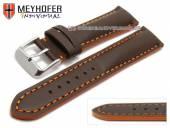 Uhrenarmband Paracatu 18mm dunkelbraun Leder glatt orangefarbene Naht von Meyhofer (Schließenanstoß 16 mm)