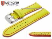 Uhrenarmband Paracatu 18mm gelb Leder glatt rote Naht von Meyhofer (Schließenanstoß 16 mm)