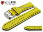 Uhrenarmband Paracatu 18mm gelb Leder glatt schwarze Naht von Meyhofer (Schließenanstoß 16 mm)