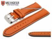Uhrenarmband Paracatu 18mm orange Leder glatt schwarze Naht von Meyhofer (Schließenanstoß 16 mm)