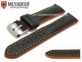 Uhrenarmband Paracatu 18mm schwarz Leder glatt orangefarbene Naht von Meyhofer (Schließenanstoß 16 mm)