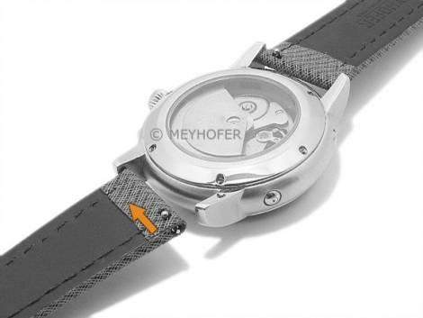 Meyhofer EASY-CLICK Uhrenband -Huron- 22mm mittelblau Textil-Look helle Naht mit Faltschließe (Schließenanstoß 20 mm) - Bild vergrößern