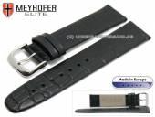 Uhrenarmband Deltona 20mm schwarz Leder Alligator-Prägung von MEYHOFER (Schließenanstoß 18 mm)