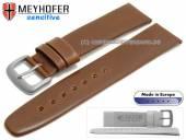 Uhrarmband 19mm Koper mittelbraun Leder vegetabil gegerbt glatt von MEYHOFER (Schließenanstoß 16 mm)