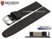 Uhrenarmband Stendal 19mm schwarz Leder fein genarbt rote Naht von MEYHOFER (Schließenanstoß 16 mm)