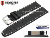 Uhrenarmband Stendal 19mm schwarz Leder fein genarbt helle Naht von MEYHOFER (Schließenanstoß 16 mm)