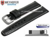 Uhrarmband 22mm Piran schwarz Leder vegetabil gegerbt helle Naht von MEYHOFER (Schließenanstoß 20 mm)