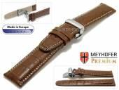 Uhrenarmband  Merano 21mm mittelbraun Alligator-Prägung helle Naht Faltschließe von Meyhofer (Schließenanstoß 18 mm)