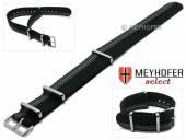 Uhrenarmband XS Iowa 20mm schwarz Textil graue seitliche Streifen 3 Metallschlaufen Durchzugsband von MEYHOFER