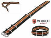 Uhrenarmband Alabama 20mm schwarz Textil beige und oranger Streifen 3 Metallschlaufen Durchzugsband MEYHOFER