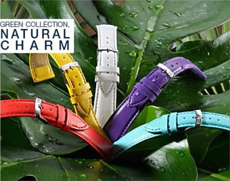 Ökologische Uhrenarmbänder in Lederoptik aus synthetischen Materialien in diversen Ausführungen aus der GREEN COLLECTION - Bild vergrößern
