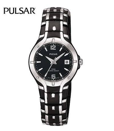 Damenuhren schwarz silber  Sportlich elegante Damenuhr Edelstahl schwarz/silber von Pulsar