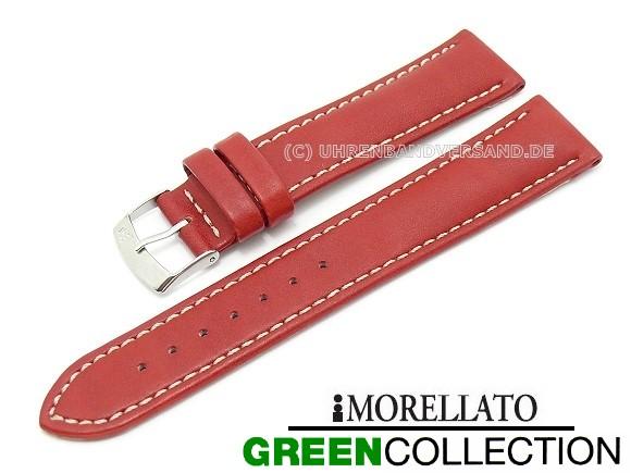 XL Uhrenarmband rote Naht XL gepolstert schwarz Leder Kroko Prägung