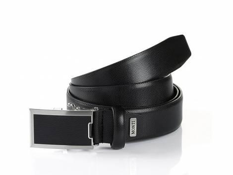 Business-Gürtel -Osaka- schwarz mit Automatikschließe silberfarben/schwarz von Monti - Bundlänge 110cm - Bild vergrößern