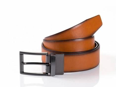 Business Ledergürtel -Siena- Wendegürtel hellbraun/schwarz von Monti - Größe 110 (Breite ca 3,5 cm) - Bild vergrößern