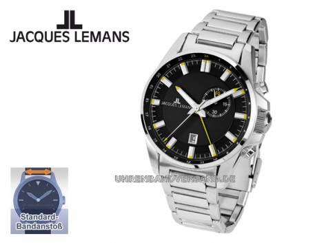 Klassische Herrenuhr Edelstahl-Uhrenarmband Ziffernblatt schwarz von Jacques Lemans (*JL*HU*) - Bild vergrößern