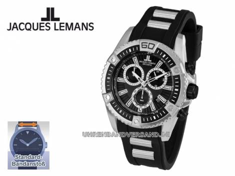 Sportiver Chronograph Ziffernblatt schwarz robust von Jacques Lemans (*JL*HU*) - Bild vergrößern