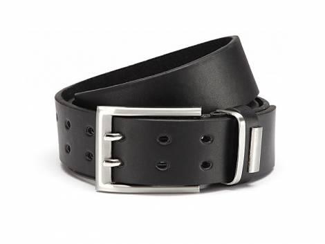Basic-Gürtel schwarz fein genarbt Doppeldorn-Schließe - Größe 105 (Breite ca. 4 cm) - Bild vergrößern