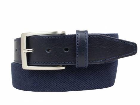 Stretch-Stoffgürtel mit Leder dunkelblau - Bundlänge 85cm (Breite 3,5cm) - Bild vergrößern