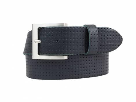 Sportiver Ledergürtel dunkelblau glatt perforiert - Bundlänge 110cm - Bild vergrößern