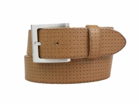 Sportiver Ledergürtel hellbraun glatt perforiert - Bundlänge 120cm (Breite ca. 4cm) - Bild vergrößern