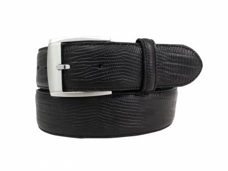 Hochwertiger Ledergürtel schwarz Reptilprägung - Größe 105 (Breite ca. 4 cm) - Bild vergrößern