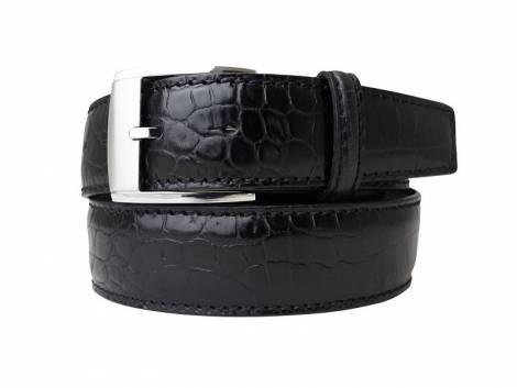 Hochwertiger Ledergürtel schwarz Alligatorprägung - Bundlänge 95cm (Breite ca. 4cm) - Bild vergrößern
